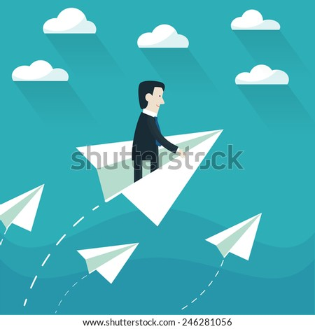 Businessman in a paper plane - stock vector