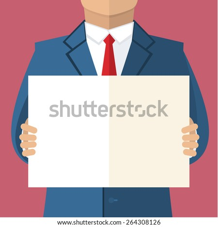 Businessman in blue suit holding blank banner. Flat design - stock vector