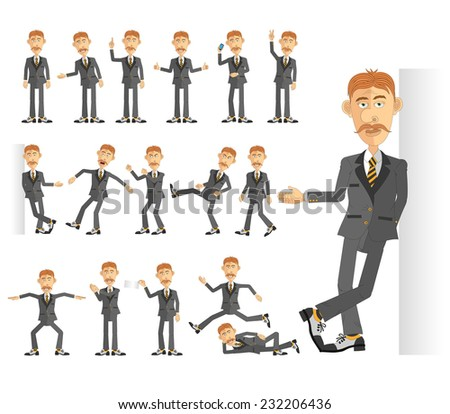 Businessman in business suit in various poses. All body parts are made separately, they can be interchanged, positioned somehow and create new poses. - stock vector