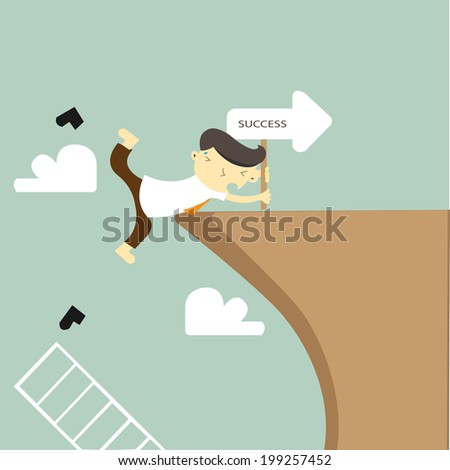 Businessman in climbing the cliff to success choice or failure, VECTOR, EPS10  - stock vector