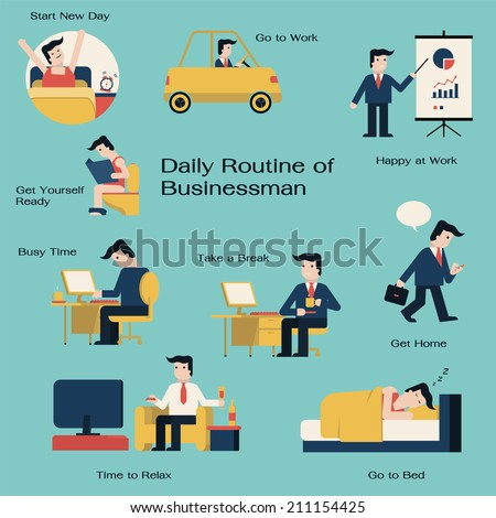 Businessman daily routine get up drive stock vector Home get design