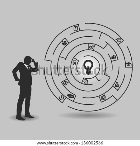 Businessman in front of a huge maze - stock vector