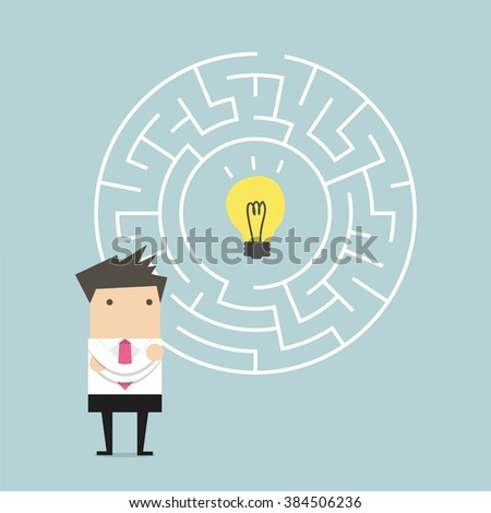 Businessman in front of a huge maze and finding direction to idea bulb - stock vector