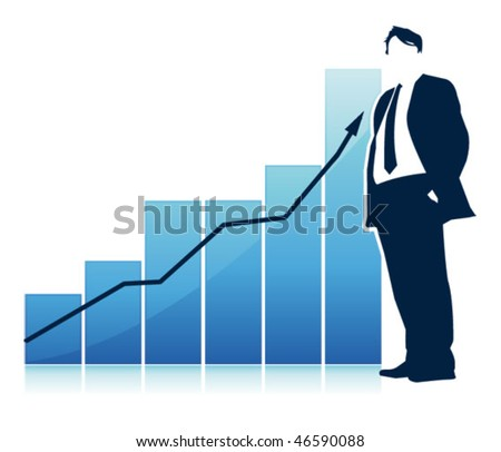 businessman in front of a statistic - stock vector