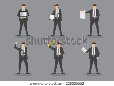 Businessman in grey suit and necktie with different work equipment and office supplies. Vector illustration set isolated on grey plain background. - stock vector