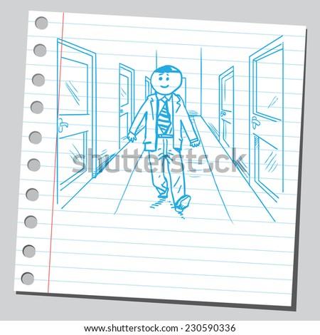 Businessman in hallway - stock vector