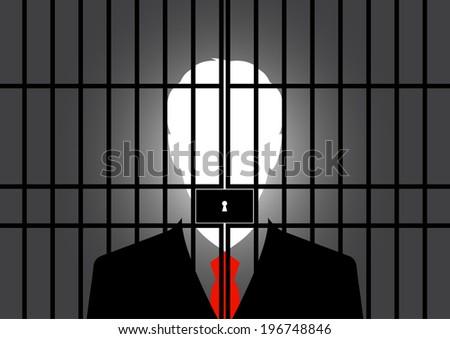 Businessman in jail - Vector - stock vector