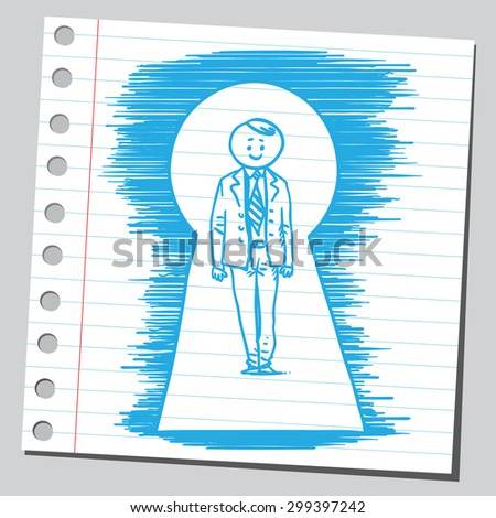 Businessman in key hole  - stock vector