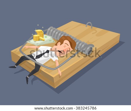 Businessman in mouse trap. Vector flat illustration - stock vector