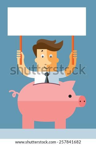 Businessman in piggy bank holding blank sign. Flat vector illustration. - stock vector