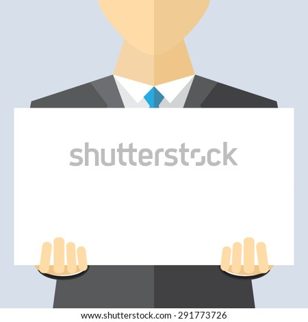 Businessman in suit holding blank banner - stock vector