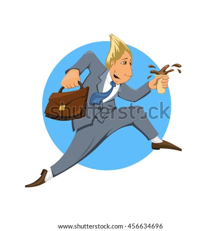 Businessman in suit in a hurry to work in the morning. Illustration