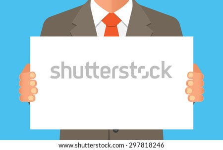 Businessman, in suit man, holding blank banner. - stock vector