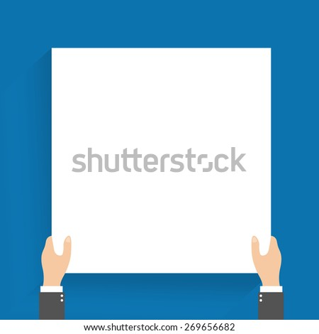 Businessman, in suit man, holding blank banner. vector1 - stock vector