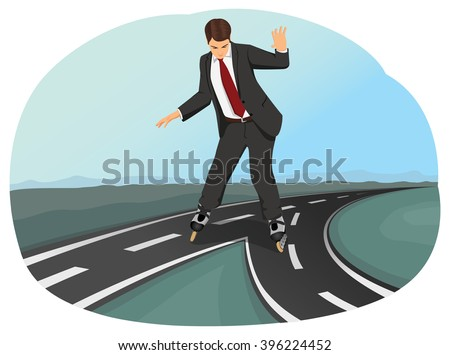Businessman in suit on roller skates has to choose between two paths. Business crossroad. Strategic planning. - stock vector