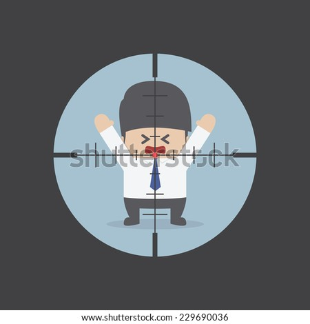 Businessman in the rifle sight, VECTOR, EPS10 - stock vector