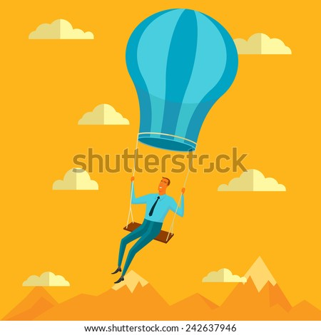 Businessman in the sky position sitting on balloon peace for any spiritual and inner peace business concepts,vector illustration. - stock vector