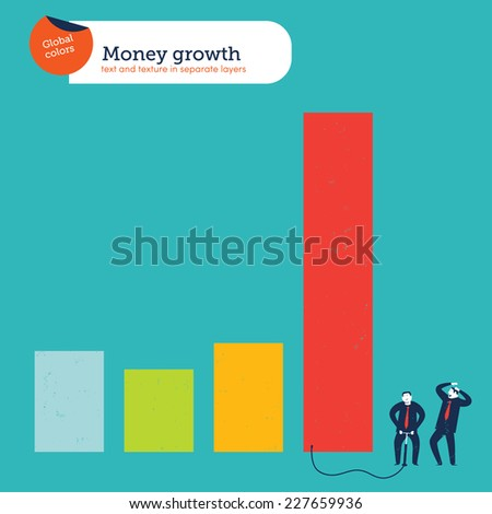 Businessman inflating a chart Vector illustration Eps10 file. Global colors. Text and Texture in separate layers. - stock vector