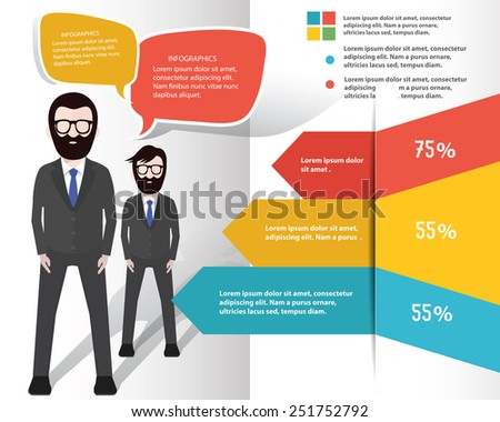 Businessman info graphic design on white background,clean vector - stock vector
