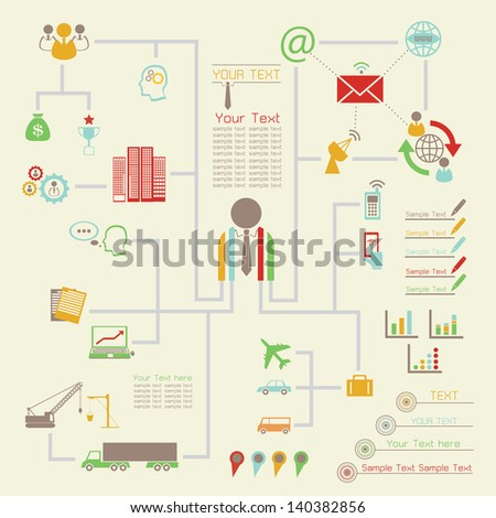 Businessman Infographics, Set Of vector infographics and Information Graphics icon - stock vector