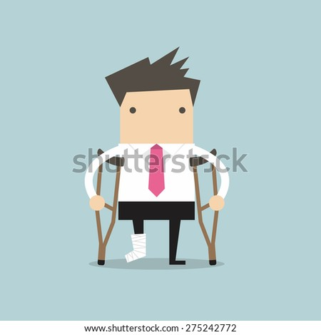 Businessman injured standing with crutches and showing cast on a broken leg for health insurance or rehabilitation concept design - stock vector
