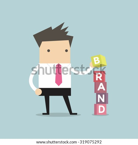 Businessman is building Brand cubic box puzzle, vector - stock vector