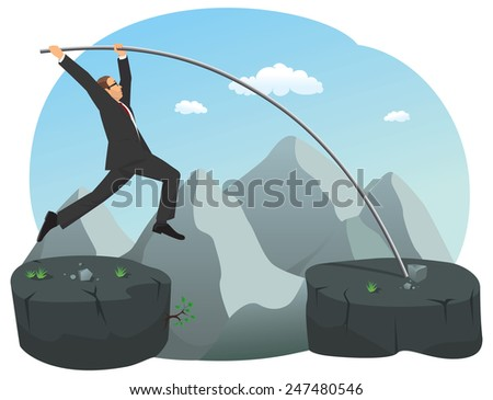 Businessman is doing pole vault over the precipice - stock vector