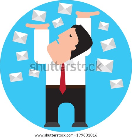 businessman is filled up with spam - stock vector