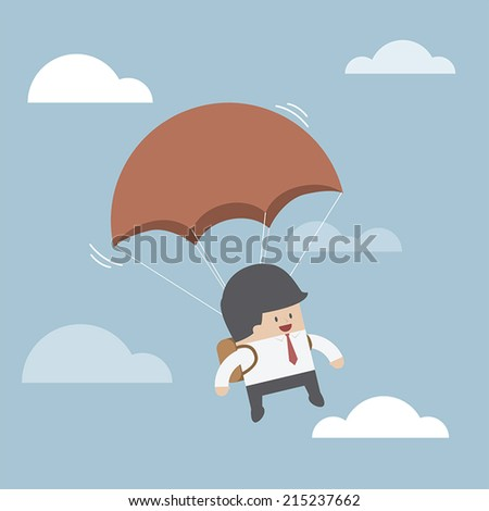 Businessman is flying with parachute, VECTOR, EPS10 - stock vector