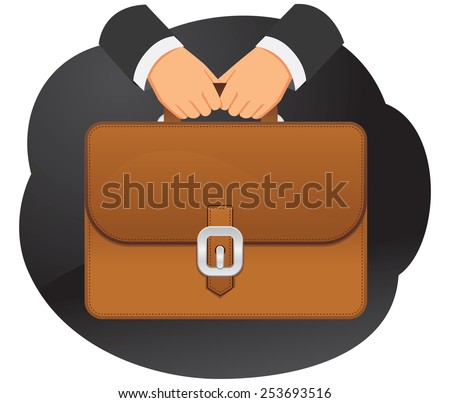 Businessman is holding a briefcase in hands - stock vector