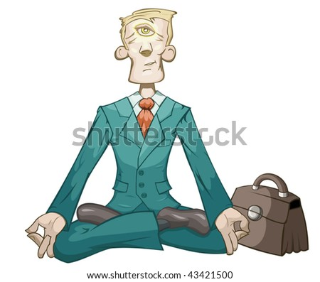 Businessman is meditating and relaxing in lotus pose - stock vector
