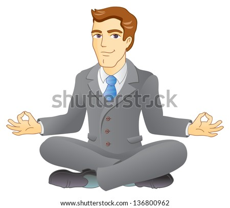 Businessman is meditating and relaxing in lotus pose. Business yoga. Vector illustration. - stock vector