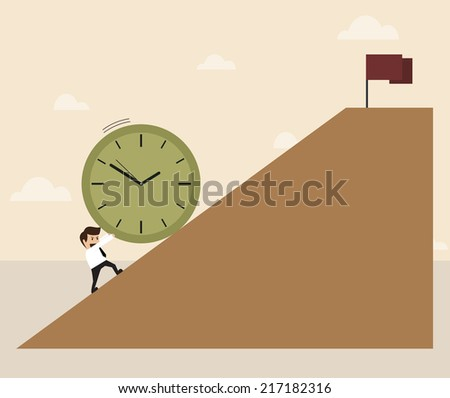 Businessman is pushing big clock up hill
