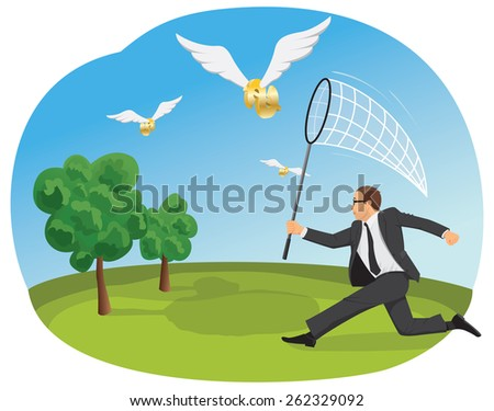 Businessman is running with a butterfly net to catch flying dollar signs - stock vector