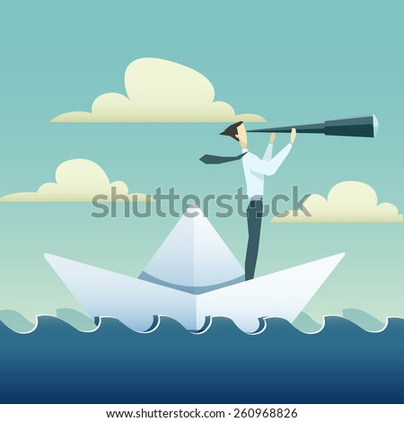 Businessman is sailing on paper boat in ocean  - stock vector