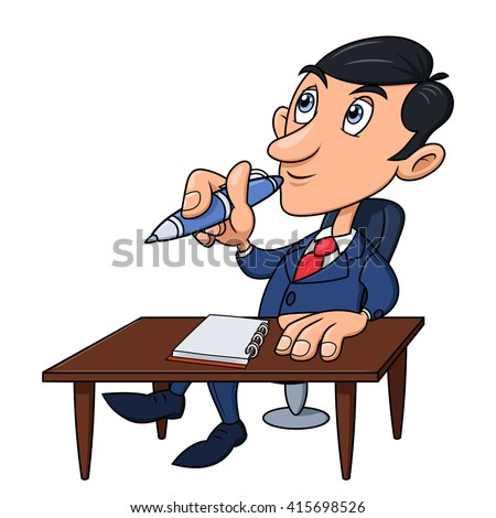 Businessman is thinking - stock vector