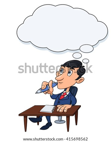 Businessman is thinking 3 - stock vector