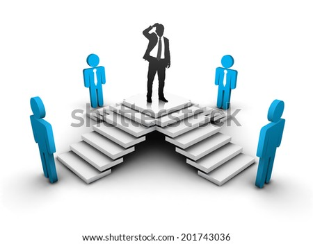 Businessman is thinking about right person. Abstract business concept. Vector illustration.