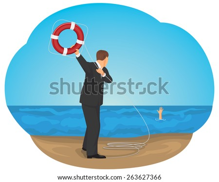 Businessman is throwing a life buoy to save man in the sea of crisis - stock vector