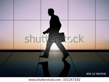 businessman is walking in the building