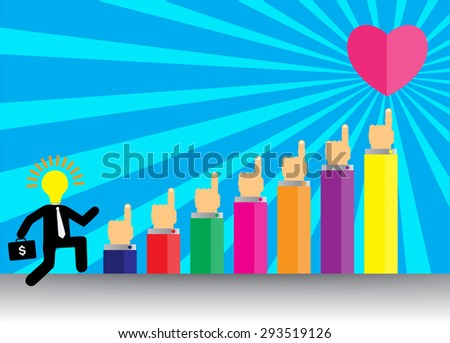 businessman jump over growing chart. money chart. vector illustration. lamp idea. infographics. marketing, victory. arrow. Ladder to success. walk. goal. graphic. stair. icon. stability. heart