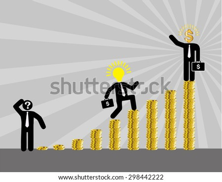 businessman jump over growing chart. money chart. vector illustration. lamp idea. infographics. marketing, victory. Ladder to success. walk. goal. graphic. stair. icon. destination,win.gray background - stock vector