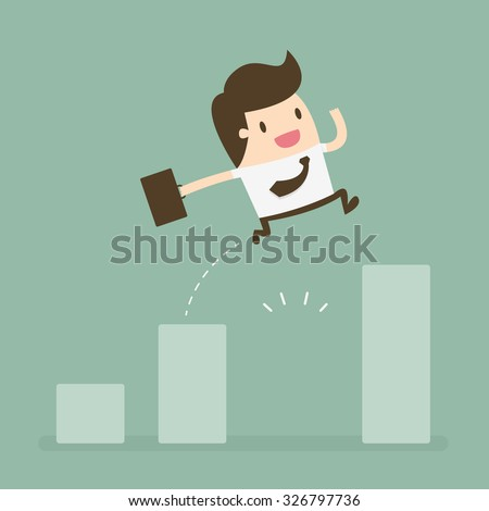 Businessman Jump Through The Gap In Growth Chart. Business concept cartoon illustration. - stock vector