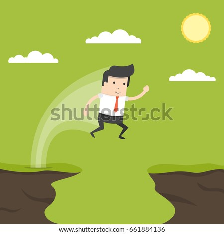 Businessman jump through the gap in the rocks. Symbol of business success, challenge, risk, courage. Flat cartoon style. Vector illustration.