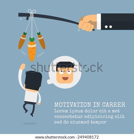 Businessman jumping grab carrot,Vector cartoon concept abstract business - stock vector