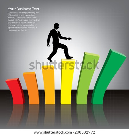 Businessman Jumping on Chart - stock vector
