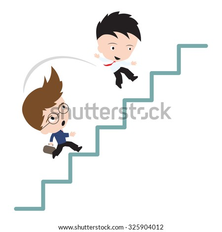 Businessman Jumping Over competitor at stair for market share concept