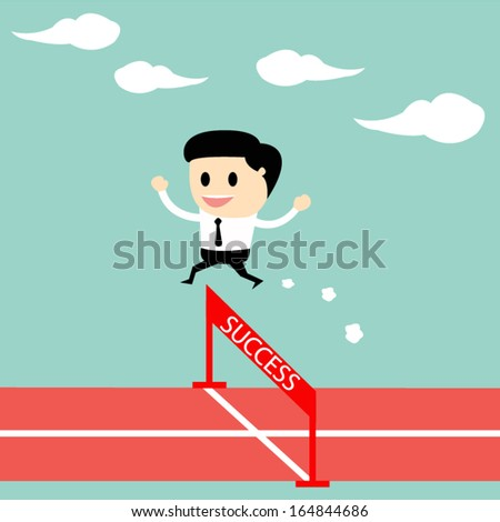 Businessman jumping over hurdle on a running track on the way to success, Business concept vector - stock vector