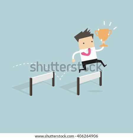 Businessman jumping over obstacle and holding trophy vector - stock vector