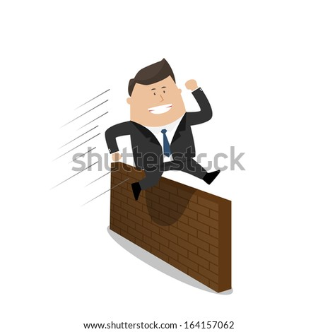 Businessman jumping  over the wall - stock vector
